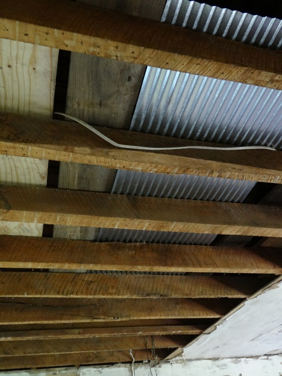 Demolition #7a, and Thoughts on Corrugated Steel as Ceiling Material